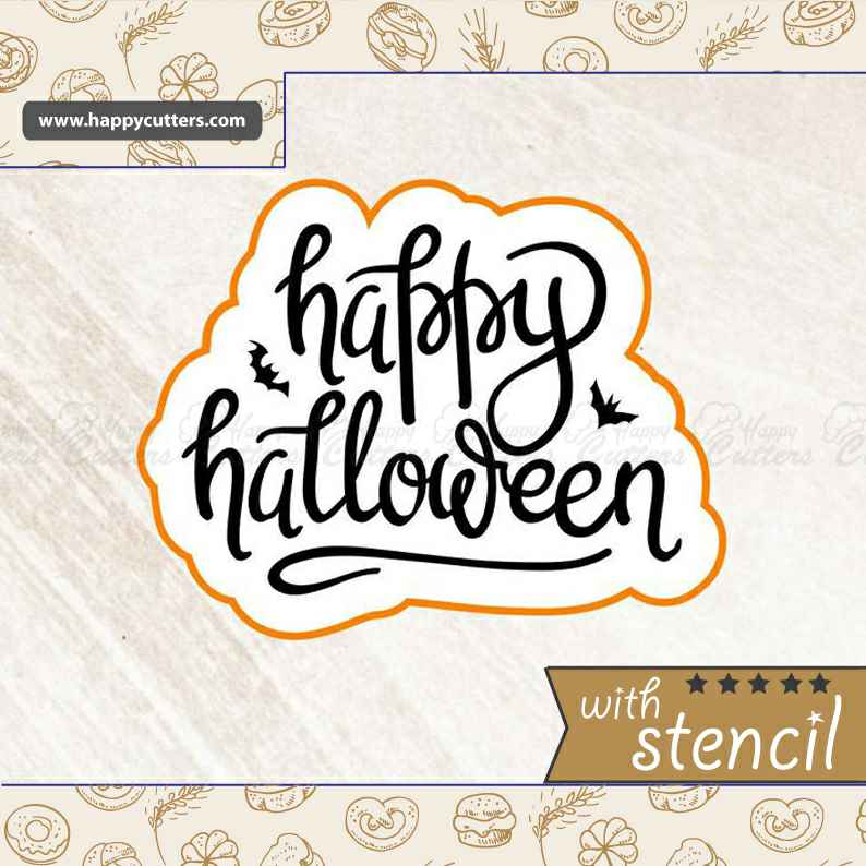 Happy Halloween 2,                       letter cookie cutters, cursive letter cookie stamp, cursive letter fondant cutters, fancy letter cookie cutters, large letter cookie cutters, letter shaped cookie cutters, sloth cookie cutter, watermelon cookie cutter, animal shape cutters, truck with christmas tree cookie cutter, wilton easter cookie cutters, beaver cookie cutter, german cookie cutters, large square cookie cutter,