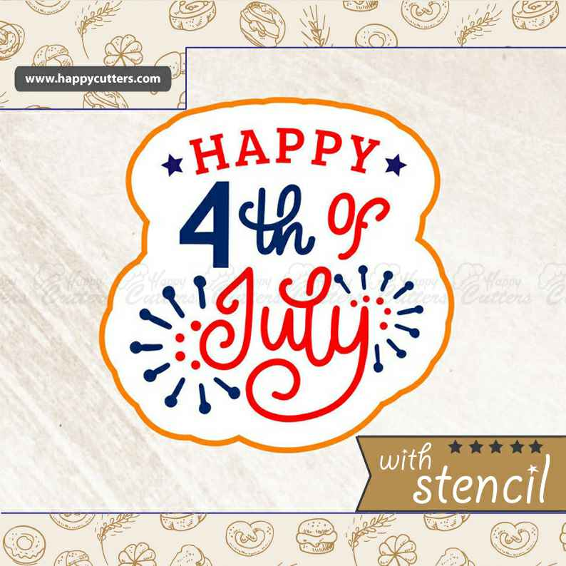 Happy 4th of July 3,                       letter cookie cutters, cursive letter cookie stamp, cursive letter fondant cutters, fancy letter cookie cutters, large letter cookie cutters, letter shaped cookie cutters, christmas cookie cutters, mini cooper cookie cutter, emoji cutters, swimmer cookie cutter, kitty cookie cutter, gymnast cookie cutter, french fry cookie cutter, biscuit shape cutters,