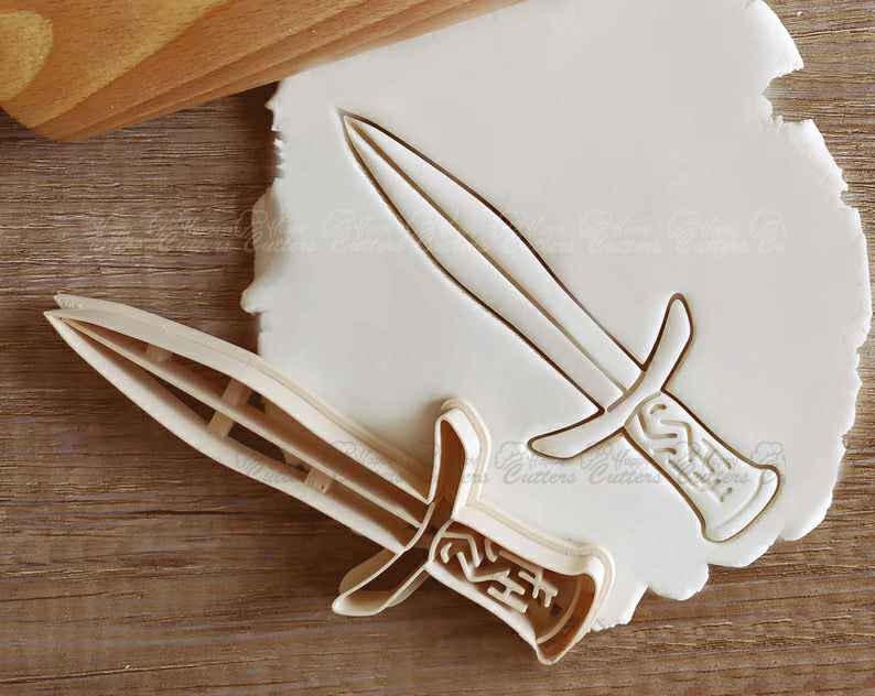 Sword Medieval Fantasy RPG Cookie Cutter Pastry Fondant Dough Biscuit,                       pirate cookie cutter, knight cookie cutter, pirate ship cookie cutter, castle cookie cutter, crown cookie cutter, axe cookie cutter, foot cookie cutter, floral cookie cutter, angel cookie cutter, mini shape cutters, fruit and vegetable shaped cookie cutters, trophy cookie cutter, doll cookie cutter, fire engine cookie cutter,