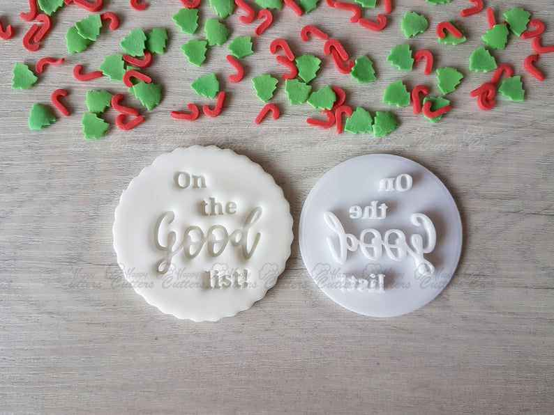 On the Good List Embosser Stamp|Christmas Cookies Soap Pottery Stamp|,                       letter cookie cutters, cursive letter cookie stamp, cursive letter fondant cutters, fancy letter cookie cutters, large letter cookie cutters, letter shaped cookie cutters, sunshine cookie cutter, gruffalo biscuit cutter, scalloped fondant cutter, mini easter cookie cutters, cookie cutter rolling pin, scalloped cookie cutter, superhero cookie cutter set, malaysian cutters,