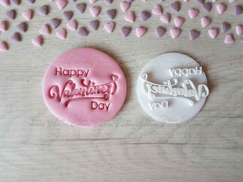 Happy Valentine's Day (Style3) Embosser Stamp | Cookie Biscuit Pottery Stamp |,                       letter cookie cutters, cursive letter cookie stamp, cursive letter fondant cutters, fancy letter cookie cutters, large letter cookie cutters, letter shaped cookie cutters, nutcracker cookie cutter, fruit cookie cutters, boss baby logo cookie cutter, mini christmas cutters, easter cookie cutters, snow globe cookie cutter michaels, etsy cookie stamp, number 5 cookie cutter,