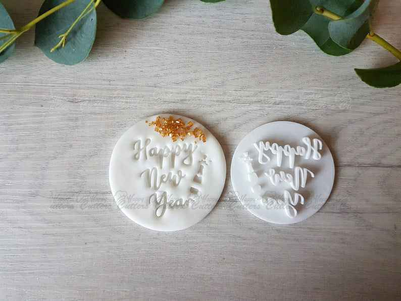 Happy New Year Embosser Stamp,                       letter cookie cutters, cursive letter cookie stamp, cursive letter fondant cutters, fancy letter cookie cutters, large letter cookie cutters, letter shaped cookie cutters, horse head cookie cutter, mickey gingerbread cookie cutter, wilton mini halloween cookie cutters, penn state cookie cutter, corgi cookie cutter, sandwich cutters for kids, miffy cookie cutter, farmers cookie cutters,