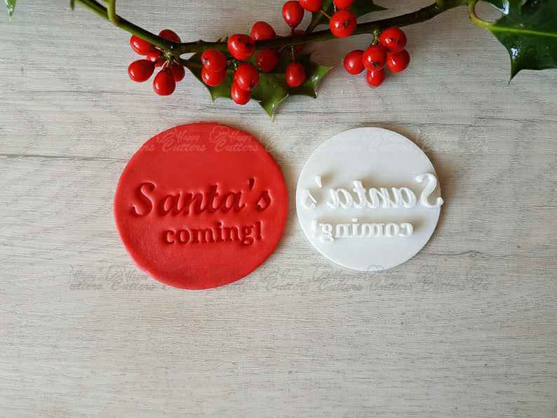 Santa's coming! Embosser Stamp|Christmas Cookies Soap Pottery Stamp|,                       letter cookie cutters, cursive letter cookie stamp, cursive letter fondant cutters, fancy letter cookie cutters, large letter cookie cutters, letter shaped cookie cutters, cloud cookie cutter, hot air balloon cutter, sea animal cookie cutters, moana cookie cutters, uterus cookie cutter, goldendoodle cookie cutter, helicopter cookie cutter, christmas cookie cutters target,