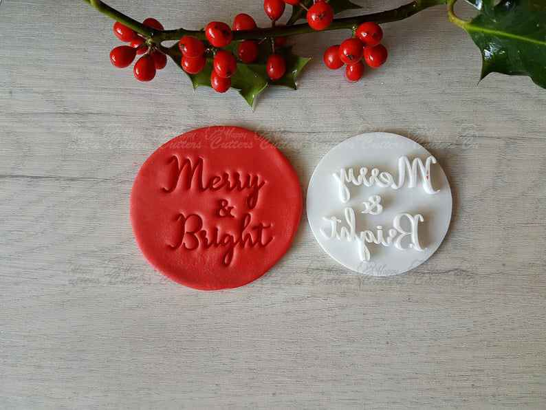 Merry & Bright Embosser Stamp|Christmas Cookies Soap Pottery Stamp|,                       letter cookie cutters, cursive letter cookie stamp, cursive letter fondant cutters, fancy letter cookie cutters, large letter cookie cutters, letter shaped cookie cutters, dragon ball z cookie cutters, leaf cookie cutter michaels, vintage red plastic cookie cutters, small heart shaped cutter, dna cookie cutter, ocean cookie cutters, syringe cookie cutter, pinkfong cookie cutter,