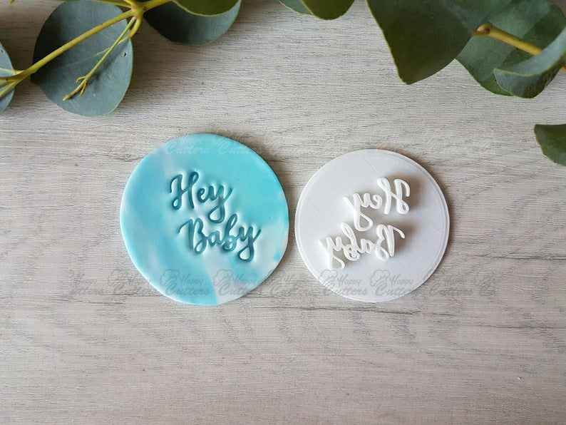 Hey Baby Embosser Stamp Cake Cookie Soap Pottery Stamp Baby Shower,                       letter cookie cutters, cursive letter cookie stamp, cursive letter fondant cutters, fancy letter cookie cutters, large letter cookie cutters, letter shaped cookie cutters, dinosaur cookie cutters near me, ariel cookie cutter, mini dinosaur cookie cutters, stainless steel christmas cookie cutters, christmas cookie cutters, dog face cookie cutter, champagne cookie cutter, truly mad plastic,