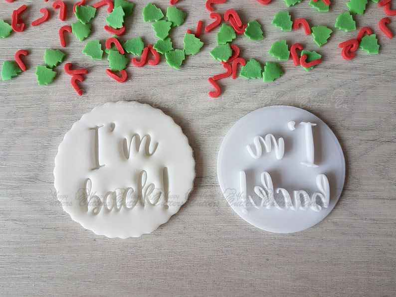 I'm Back! Embosser Stamp|Christmas Cookies Soap Pottery Stamp|,                       letter cookie cutters, cursive letter cookie stamp, cursive letter fondant cutters, fancy letter cookie cutters, large letter cookie cutters, letter shaped cookie cutters, sunglasses cookie cutter, shopkins cookie cutters, number 5 cookie cutter, fluted cookie cutter, beer bottle cookie cutter, mexican dress cookie cutter, state cookie cutters, teardrop cookie cutter,