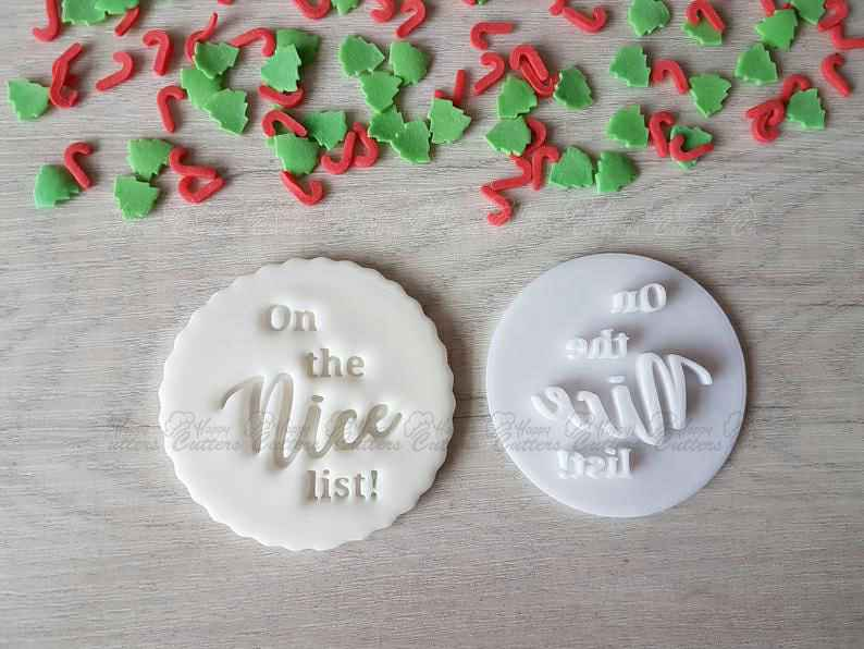 On the Nice List Embosser Stamp|Christmas Cookies Soap Pottery Stamp|,                       letter cookie cutters, cursive letter cookie stamp, cursive letter fondant cutters, fancy letter cookie cutters, large letter cookie cutters, letter shaped cookie cutters, cat treat cookie cutters, castle cookie cutter, ninja gingerbread man cookie cutters, dog face cookie cutter, weed shaped cookie cutter, christmas cookie stamps, pastry cutter set, christmas tree cookie cutter,
