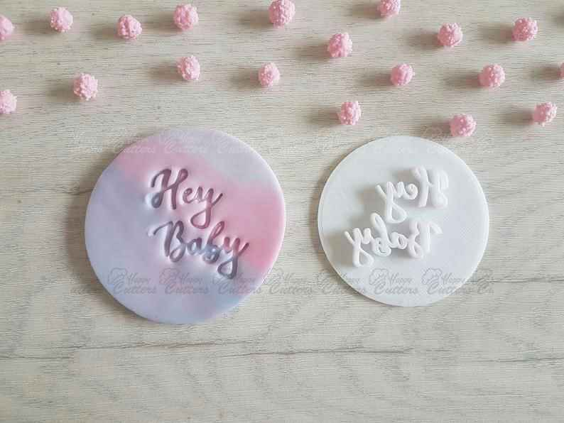 Hey Baby Embosser Stamp | Cake Cookie Soap Pottery Stamp | Baby Shower,                       letter cookie cutters, cursive letter cookie stamp, cursive letter fondant cutters, fancy letter cookie cutters, large letter cookie cutters, letter shaped cookie cutters, old cookie cutters, number 40 cookie cutter, dallas cowboys cookie cutter, fondant cookie stamps, champagne glass cookie cutter, trefoil cookie cutter, christmas cookie stamps, cookie stamps,