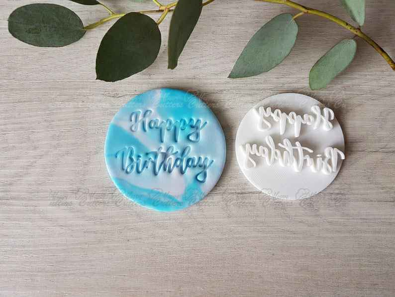 Happy Birthday Embosser Stamp | Cookies Soap Pottery Stamp|,                       birthday cookie cutters, happy birthday cookie cutter, birthday cake cookie cutter, happy birthday cookie stamp, baby shower cookie cutters, bridal shower cookie cutters, cookie cutter online, square plaque cookie cutter, hot dog cookie cutter, baptism cookie cutters, sanderson sisters cookie cutters, fawn cookie cutter, ghost cookie cutter, spartan cookie cutter,