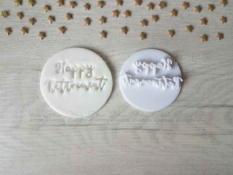 Happy Retirement Embosser Stamp | Cookie Cutter | Fondant Cutter | Clay Cutters,                       letter cookie cutters, cursive letter cookie stamp, cursive letter fondant cutters, fancy letter cookie cutters, large letter cookie cutters, letter shaped cookie cutters, christmas themed cookie cutters, pottery barn cookie cutters, bird cutter, party hat cookie cutter, valentine cookie cutters, meri meri sausage dog cookie cutter, camera cookie cutter, sandwich cut outs,