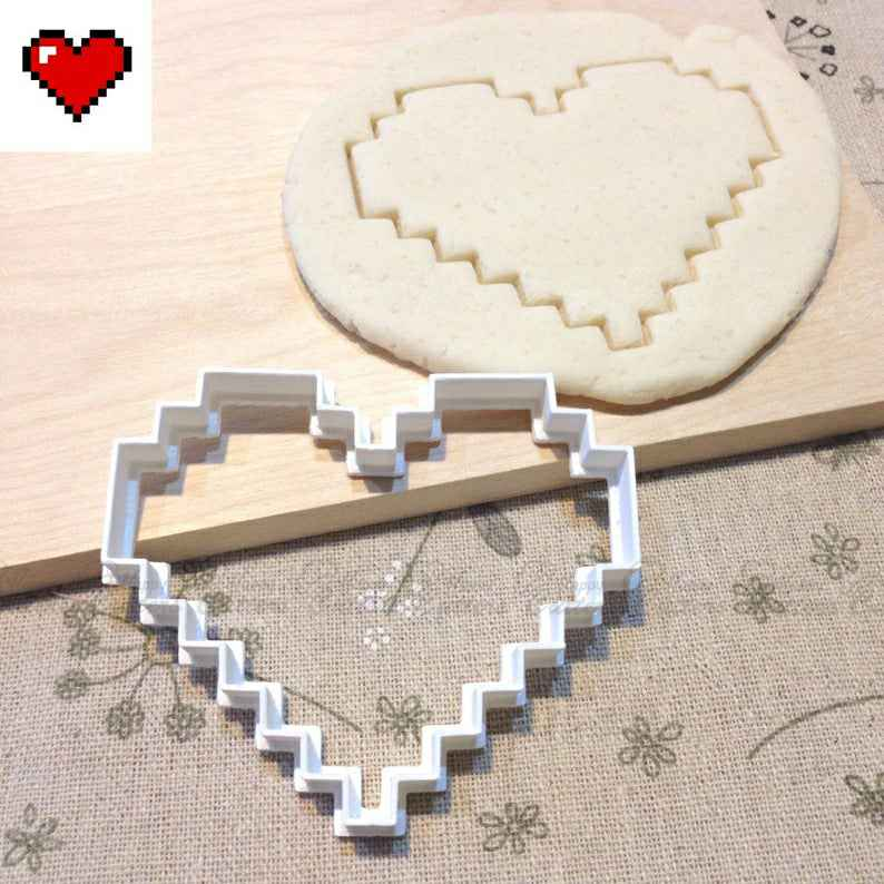 8 Bit Heart Cookie Cutter - Mario Zelda Video Game Fondant Cake Cupcake Toppers Old School Retro Party Birthday Favors,                       heart cookie cutter, heart shaped cookie cutter, heart cutter, heart shape cutter, mini heart cookie cutter, love heart cookie cutter, 1 inch heart cookie cutter, pampered chef rolling cookie cutter, sweet 16 cookie cutter, music note cookie cutter, swimmer cookie cutter, world globe cookie cutter, hearth and hand cookie cutter, sweet sugarbelle christmas,